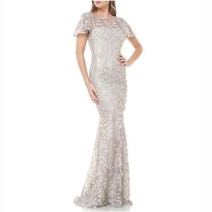 NWT {Carmen Marc Valvo} Mermaid Embroidered Gown
